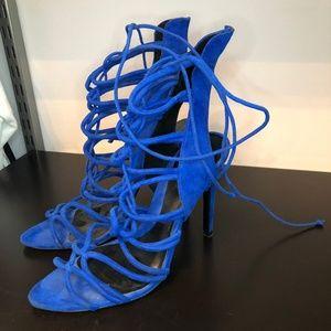 Blue Zara Lace Up Heels